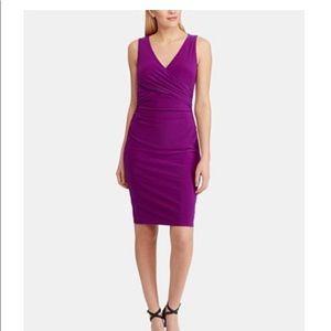 Ralph Lauren ruched sleeveless jersey violet dress